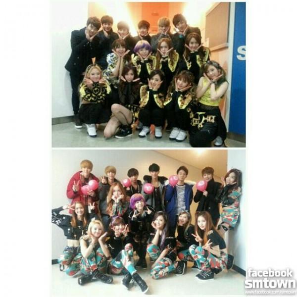 หนุ่มๆ EXO-K และ EXO-M มาให้กำลังใจรุ่นพี่ Girls Generation ในรายการเพลง