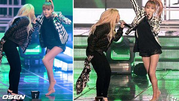 ปาร์คบอม 2NE1 แสดงความเห็นเกี่ยวกับรองเท้าส้นสูงของเธอหลุดในงาน '22nd Seoul Music Awards'