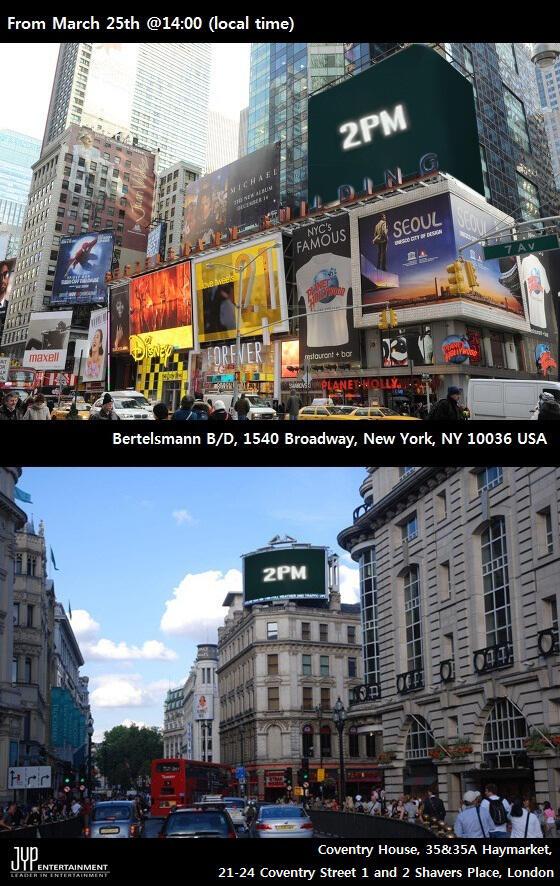 แทคยอนทวีตภาพป้ายคัมแบ็คของ 2PM ในนิวยอร์คและลอนดอน