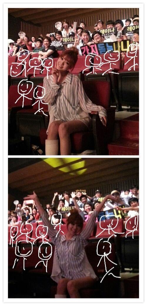 """ลิซซี่ใส่เฝือกมาเชียร์เพื่อนสมาชิก After School บนเวทีคัมแบ็คในเพลง """"First Love"""""""