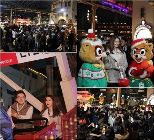 ยุนอาถูกห้อมล้อมไปด้วยแฟนๆในระหว่างถ่ายทำ Guerrilla Date ที่ Lotte World