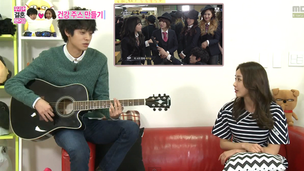 Jung Joon Young-Jung Yu mi-SNSD-Kneeling