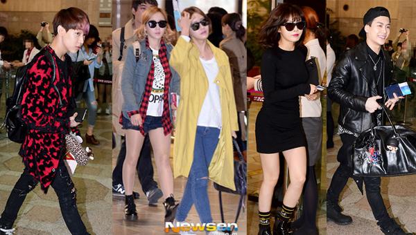 ภาพแฟชั่นสนามบินของเหล่าไอดอลขณะเดินทางไปร่วมงาน ′M COUNTDOWN - No.1 Artist of Spring 2014′
