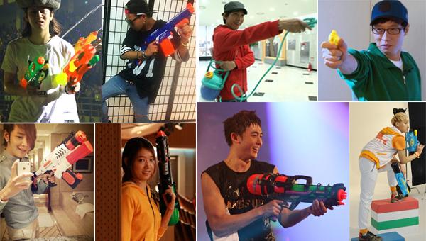 รวมภาพไอดอลคนดังของวงการ K-POP โพสท่ากับปืนฉีดน้ำมาฝากแฟนๆ
