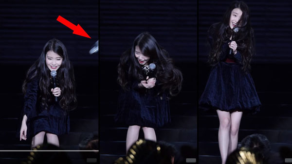 IU was hit by water bottle