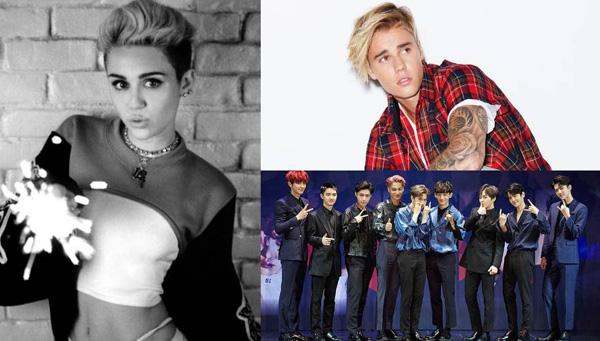 Justin Bieber-Miley Cyrus-EXO-fan war